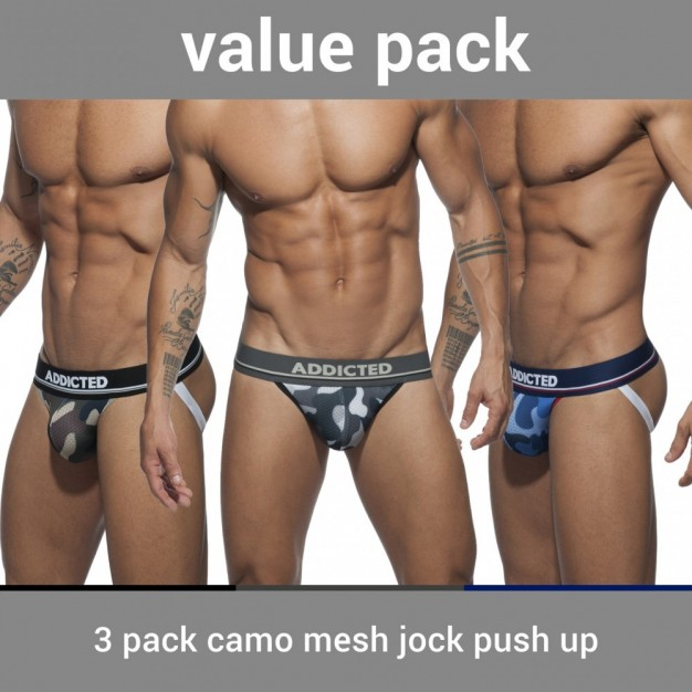 Addicted AD700P 3 Pack Camo Mesh Jock Push Up