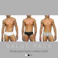 ES Collection UN184P 3 Pack Basic Cotton Brief