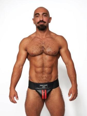 Mister B Leather Premium Jockstrap Black-Red