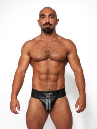 Mister B Leather Premium Jockstrap Black-Grey