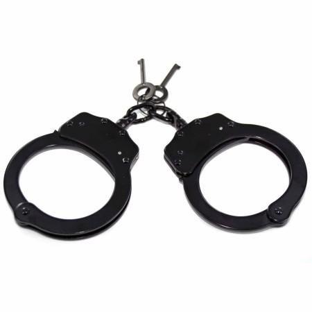 Double Lock Black Steel Handcuff